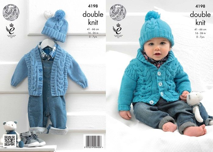 King Cole Cherished Dk Boys Cardigans Hat Baby Knitting Pattern 4198