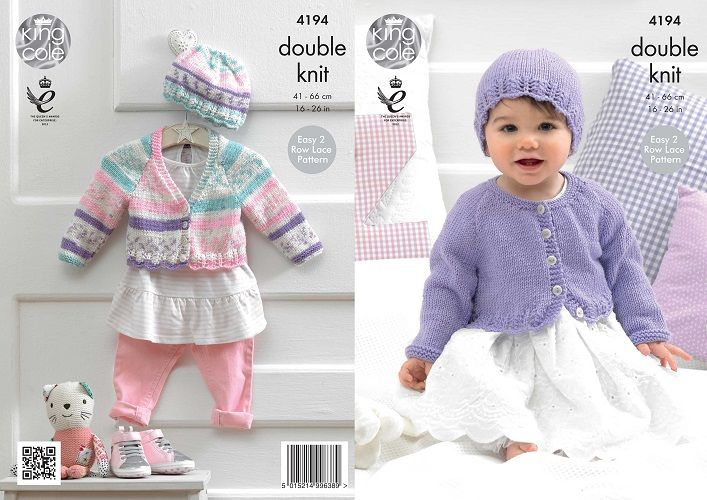 King Cole Cherished DK Cardigans Hat Baby Knitting Pattern 4194