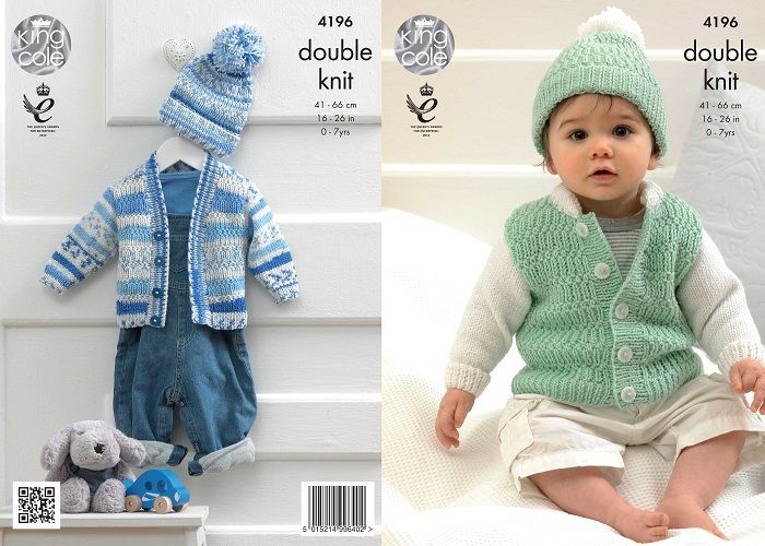 King Cole Cherished Dk Cardigans Hat Baby Knitting Pattern 4196