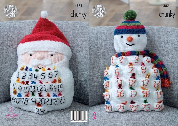 King Cole Christmas Advent Cushions Knitting Pattern 4871