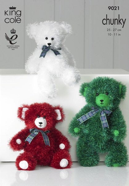 King Cole Christmas BEARS Tinsel Knitting Pattern 9021