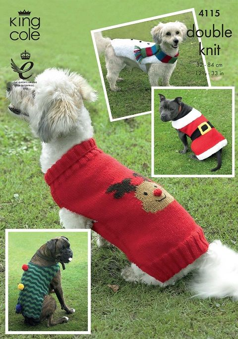 King Cole Christmas Dog Coats Knitting Pattern 4115