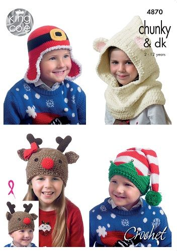 King Cole Christmas Novelty Hats Crochet Pattern 4870