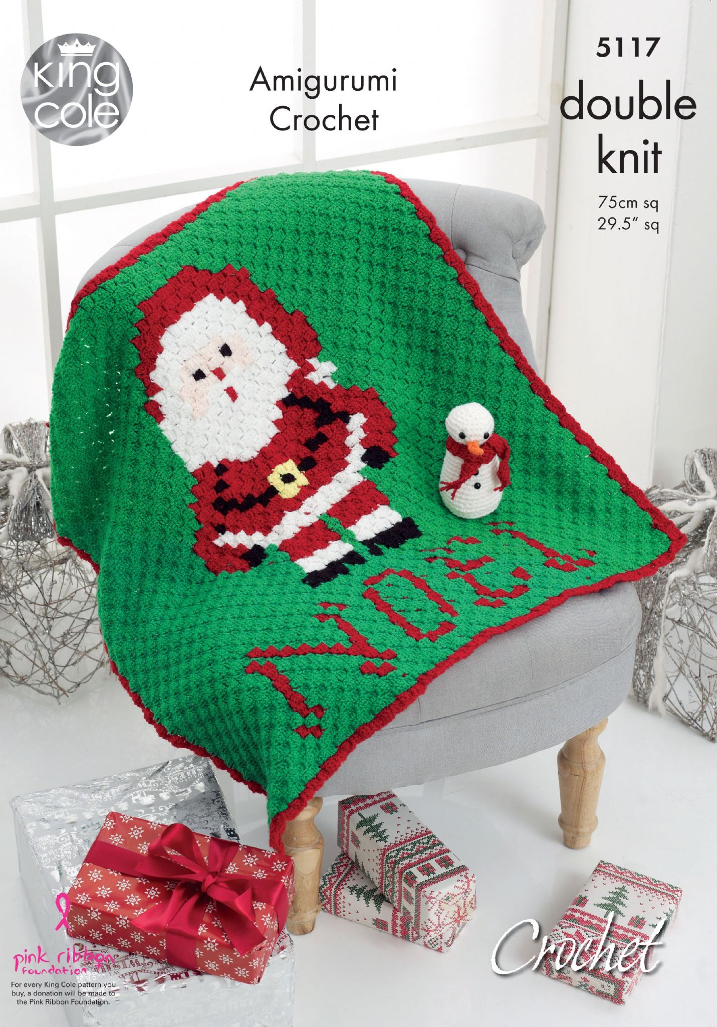 King Cole Christmas Santa Blanket and Snowman Crochet Pattern 5117