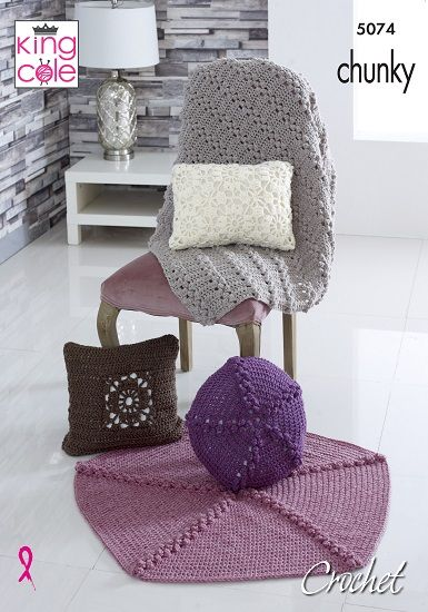 King Cole Chunky Cushions and Throws Crochet Pattern 5074