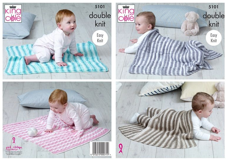 King Cole Cottonsoft Baby Crush DK Blankets Knitting Pattern 5101