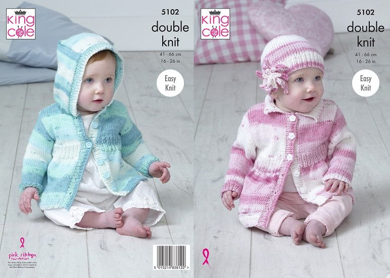 King Cole Cottonsoft Baby Crush DK Coats & Hat Knitting Pattern 5102