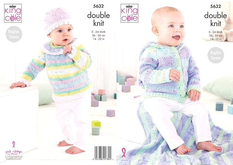 King Cole Cottonsoft Baby Crush DK Hoodie Blanket Top Hat Knitting Pattern 5632