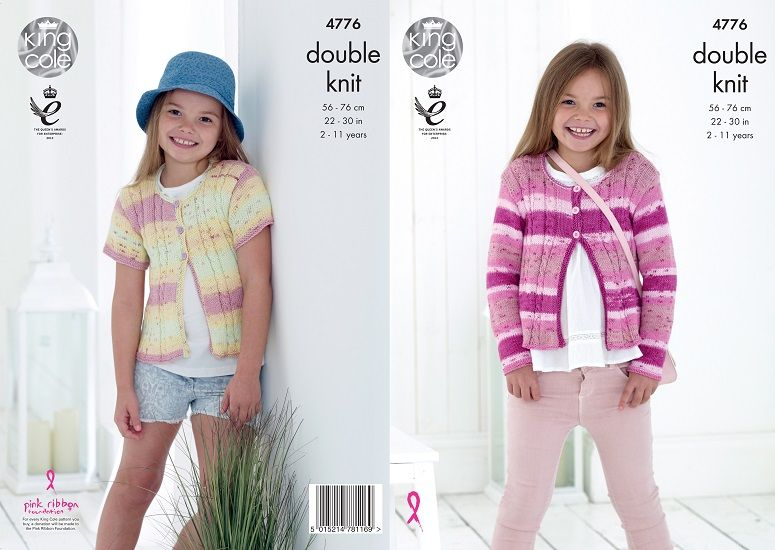 King Cole Cottonsoft Crush DK Girls Cardigans Knitting Pattern 4776