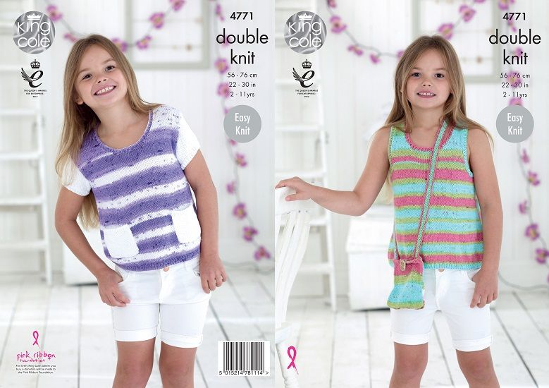 King Cole Cottonsoft Crush DK Girls Tops and Bag Knitting Pattern 4771