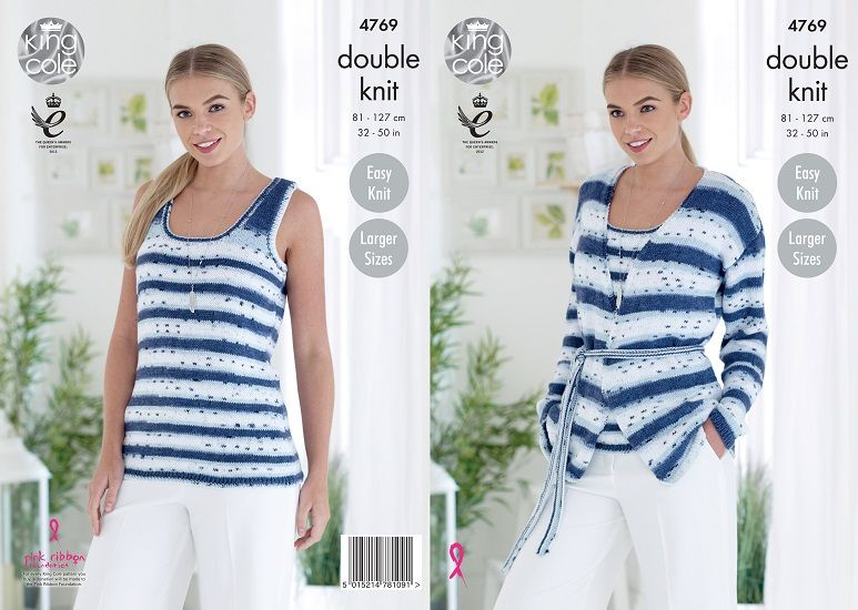 King Cole Cottonsoft Crush DK Twin-Set Knitting Pattern 4769
