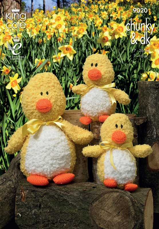 King Cole Cuddles Chunky DUCKS Toy Knitting Pattern 9020