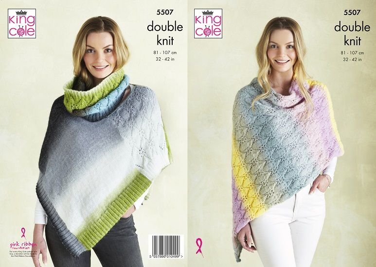 King Cole Curiosity DK Poncho Snood Knitting Pattern 5507