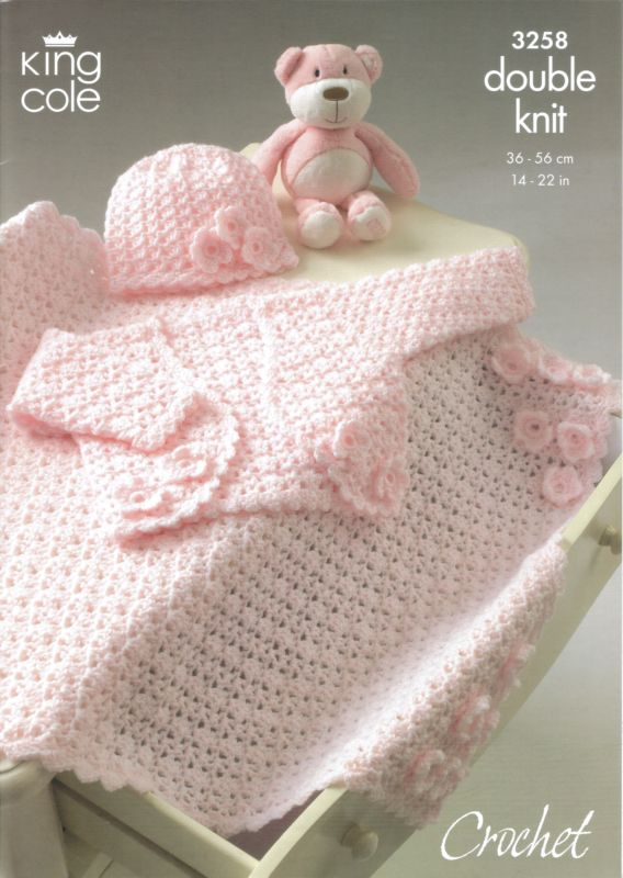 King Cole Dk Baby Bolero Hat And Blanket Crochet Pattern 3258