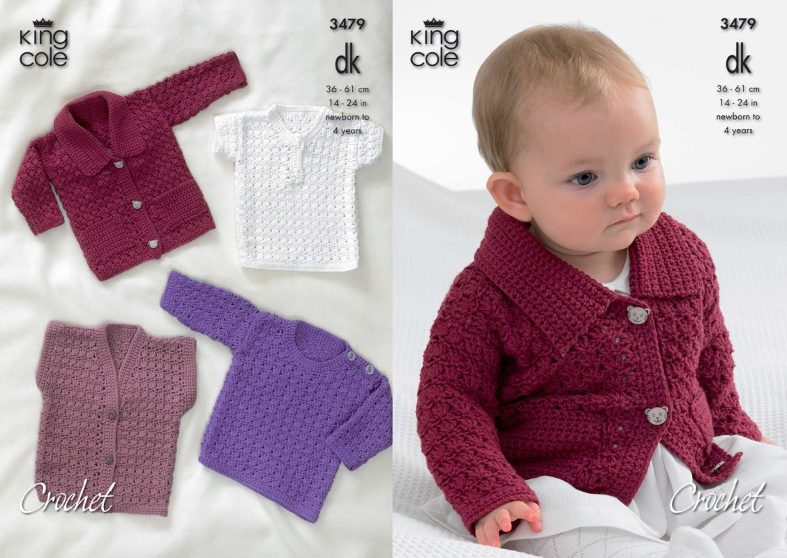King Cole Dk Baby Cardigan Sweaters And Waistcoat Crochet Pattern 3479