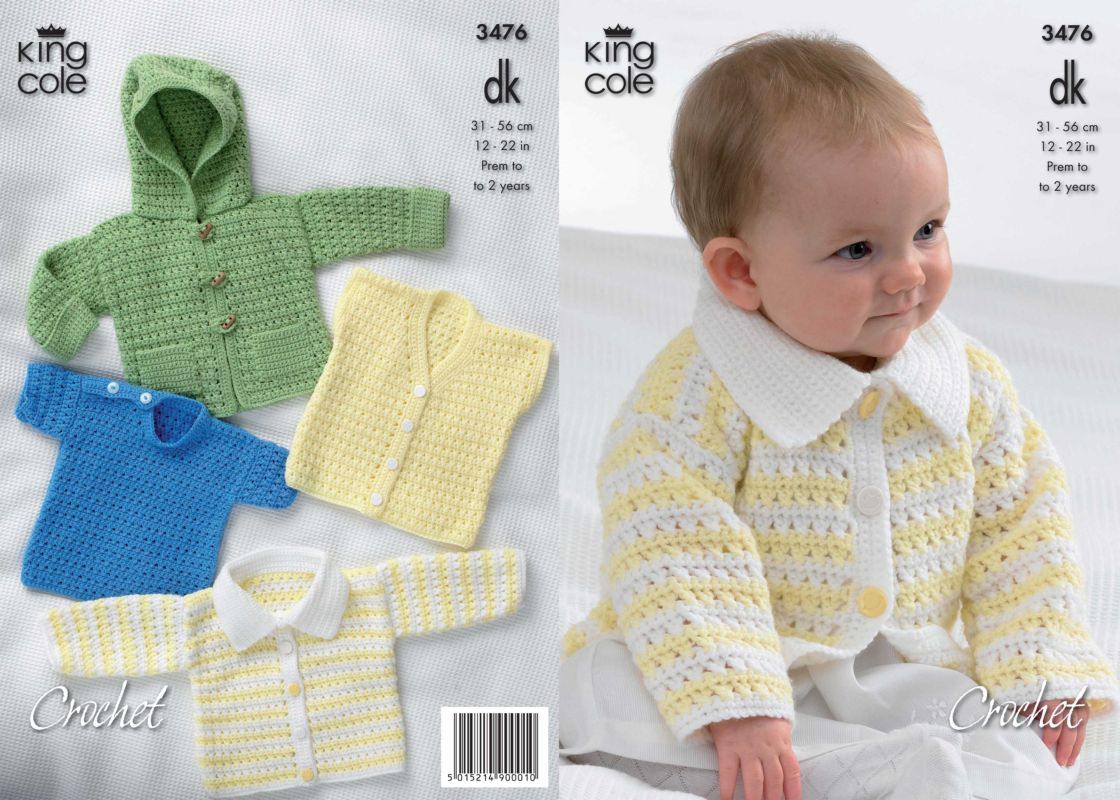 King Cole DK Baby Hooded Jacket Cardigan Sweater Waistcoat Crochet ...