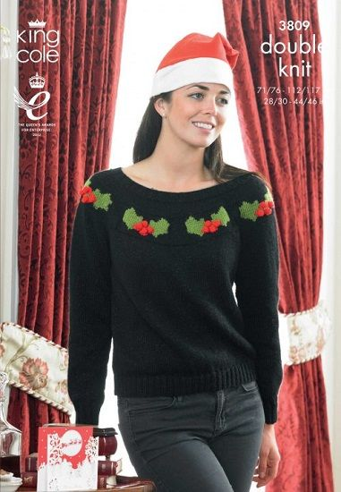 King Cole Dk Christmas Sweaters Knitting Pattern 3809