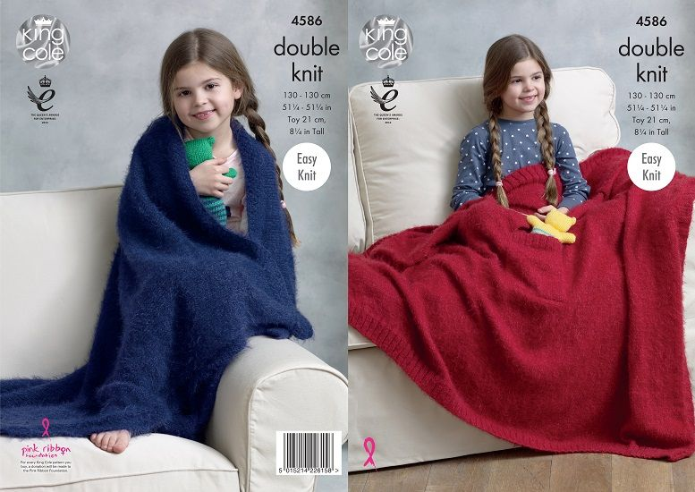 King Cole Embrace DK Blankets and Teddy Knitting Pattern 4586
