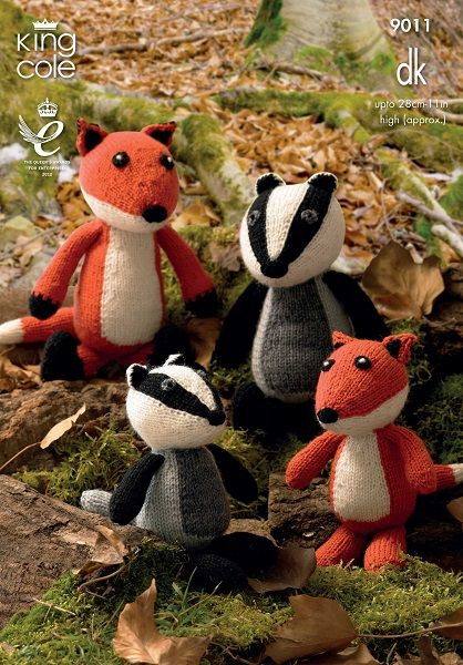 King Cole Fox And Badger Toys Knitting Pattern 9011