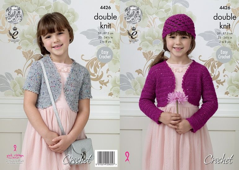 King Cole Galaxy Dk Girls Boleros And Hat Crochet Pattern 4426