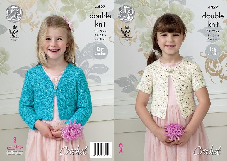 King Cole Galaxy DK Girls Cardigans Crochet Pattern 4427