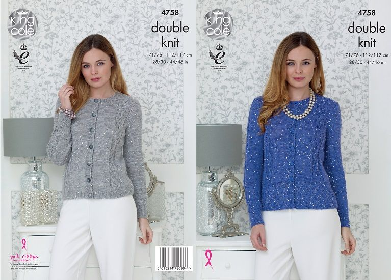 King Cole Galaxy DK Peplum Cardigan Knitting Pattern 4758