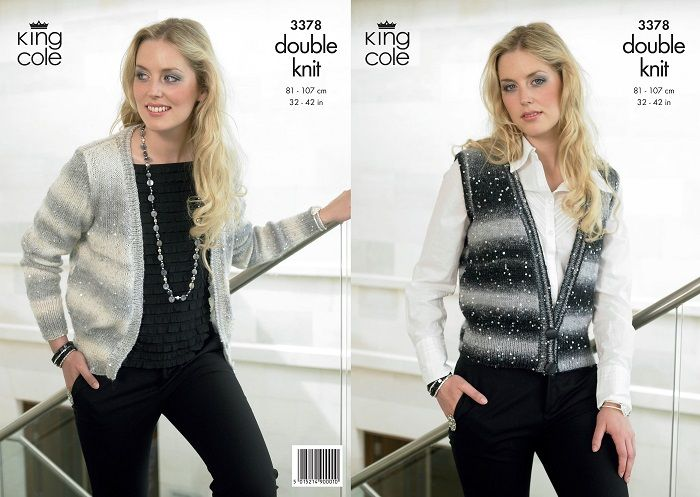 King Cole Galaxy Waistcoat Cardigan Knitting Pattern 3378