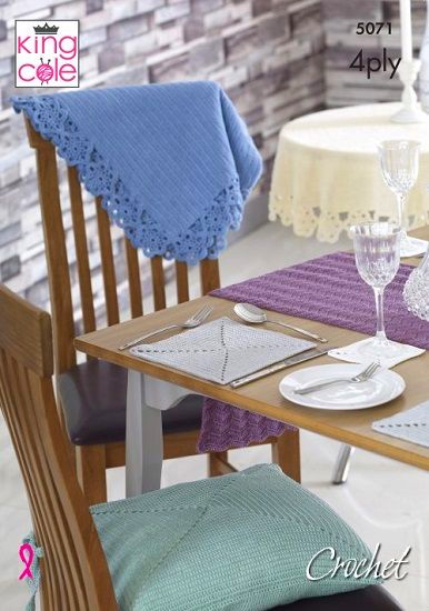 King Cole Giza 4ply Tablecloths Mats Coasters Crochet Pattern 5071