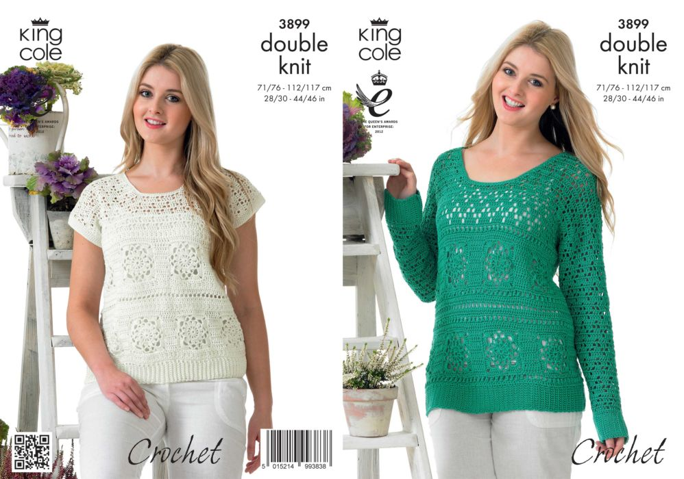King Cole Giza DK Sweater and Top Crochet Pattern 3899