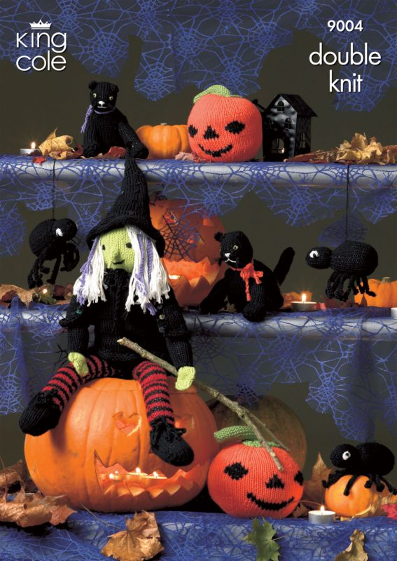 King Cole Halloween Knitting Pattern 9004 Witch Cat Spider Pumpkin