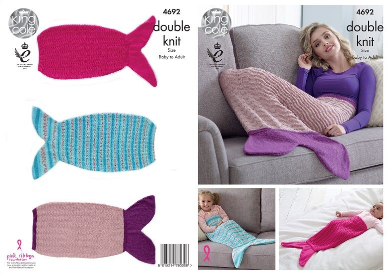 King Cole Mermaid Blankets Knitting Pattern 4692