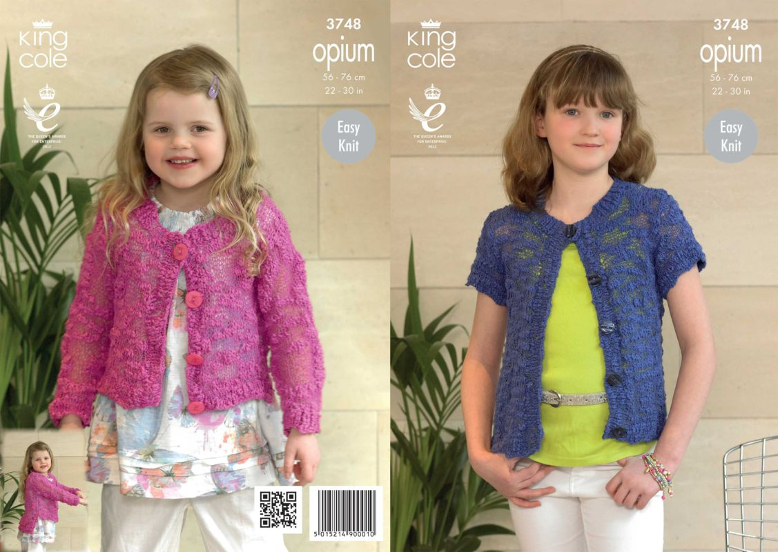 King cole opium knitting patterns king cole opium girls cardigans knitting pattern 3748 bankloansurffo Gallery