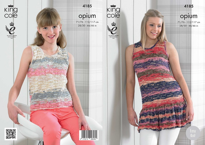 King Cole Opium Palette Summer Tops Knitting Pattern 4185