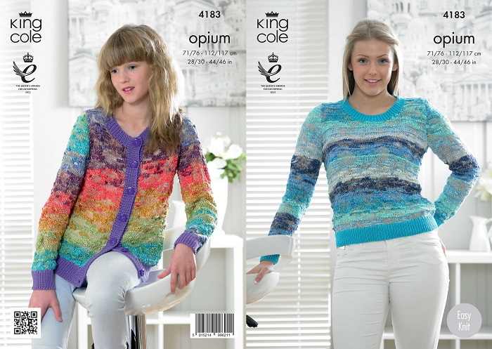 King Cole Opium Palette Sweater and Cardigan Knitting Pattern 4183