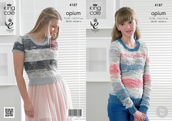 King Cole Opium Palette Sweater and Top Knitting Pattern 4187
