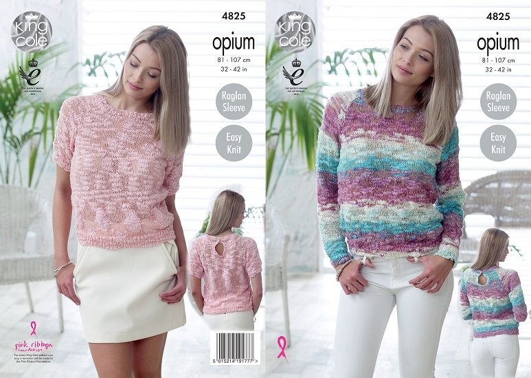 King Cole Opium Palette Sweaters Knitting Pattern 4825