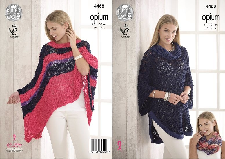 King Cole Opium Poncho Cape Snood Knitting Pattern 4468
