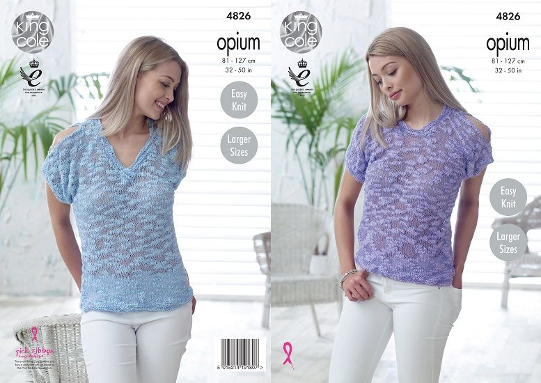 King Cole Opium Round and VNeck Tops Knitting Pattern 4826