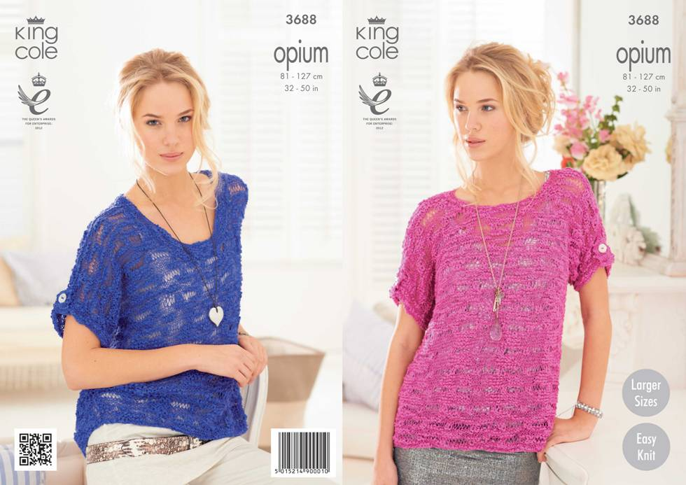 King Cole Opium Tops Knitting Pattern 3688