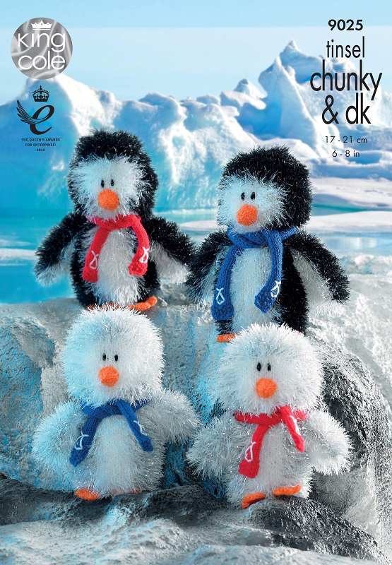 King Cole PENGUIN Family Tinsel Knitting Pattern 9025