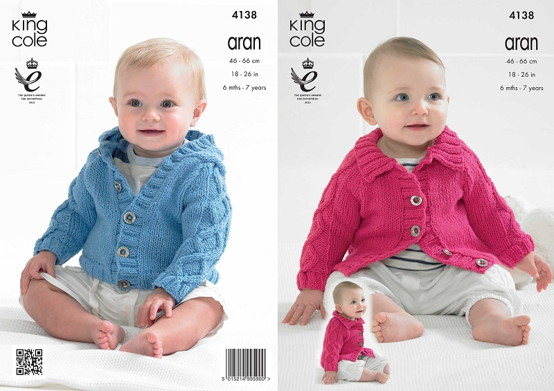 King Cole Recycled Cotton Aran Babies Raglan Cardigan Knitting ...