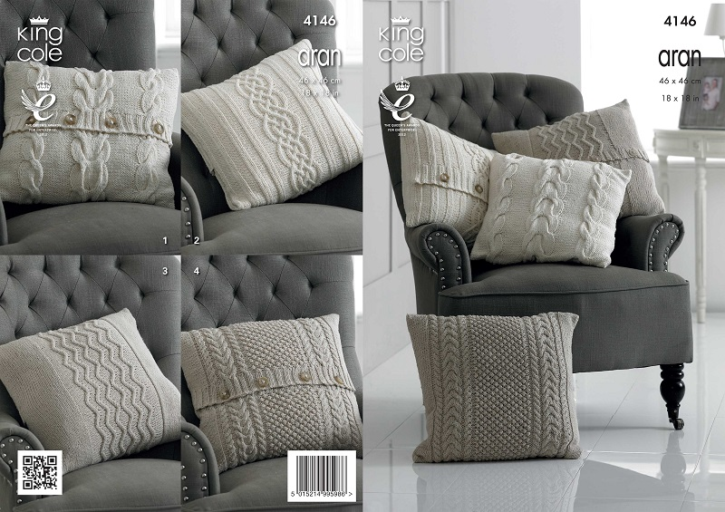 King Cole Recycled Cotton Aran Cushions Knitting Pattern 4146