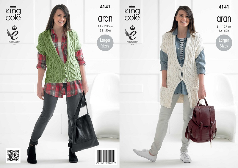 King cole recycled cotton aran ladies waistcoats knitting pattern 4141 dt1010fo