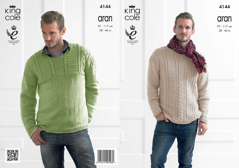 King Cole Recycled Cotton Aran Mens Textured Sweaters Knitting