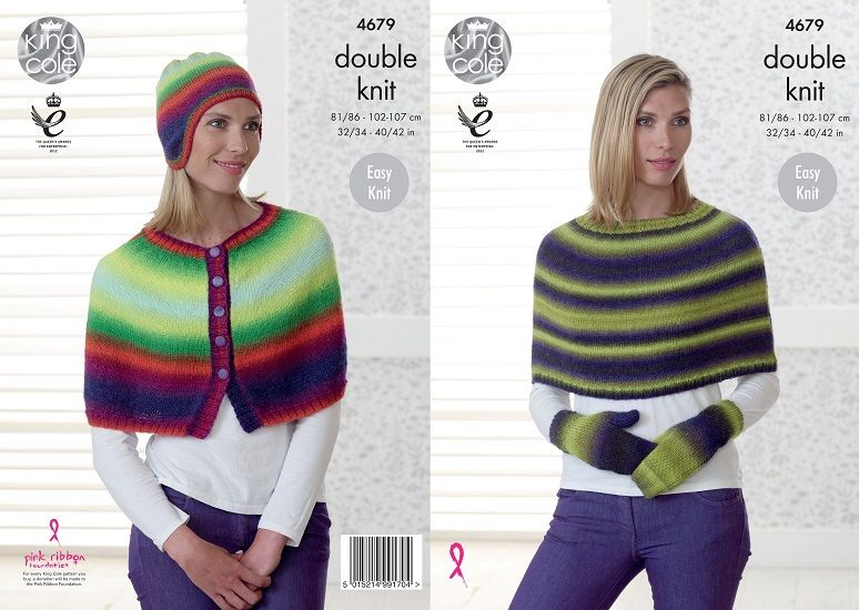 King Cole Riot DK Cape Hat Mittens Knitting Pattern 4679