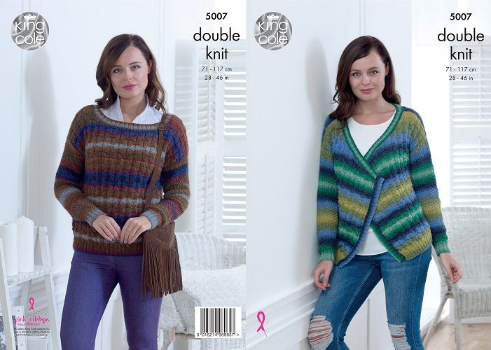 e5d7613f1 King Cole Riot DK Cardigan and Sweater Knitting Pattern 5007 .