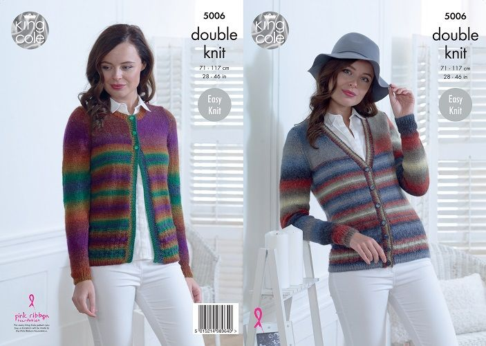 King Cole Riot DK Cardigans Knitting Pattern 5006