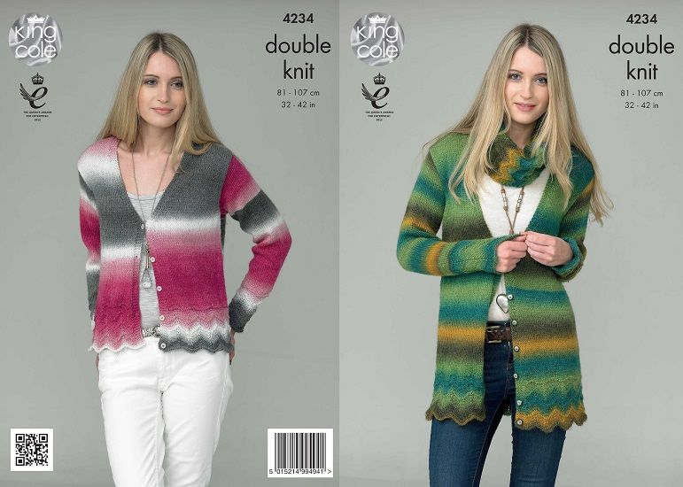 King Cole Riot DK Cardigans Snood Knitting Pattern 4234
