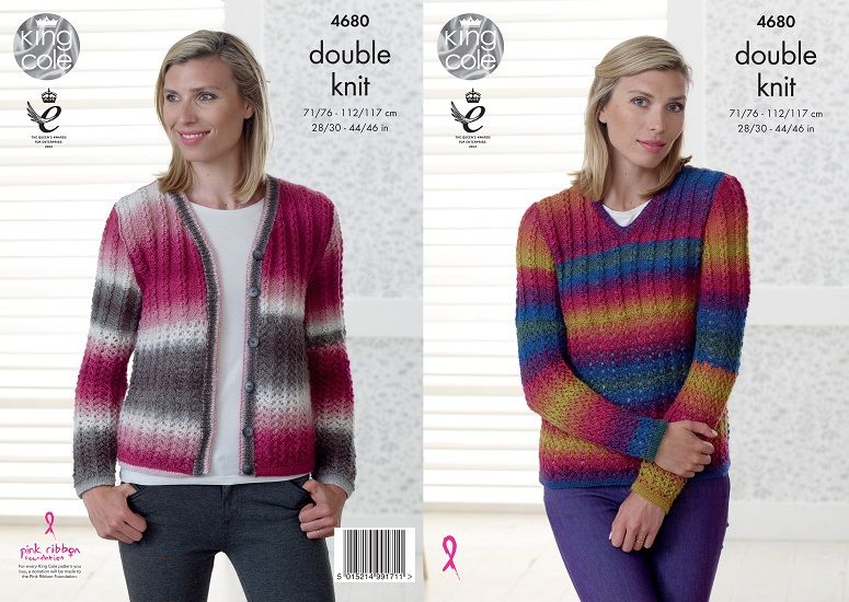 2c099b4c9 King Cole Riot DK Sweater and Cardigan Knitting Pattern 4680 .