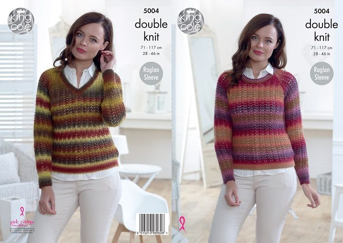 King Cole Riot DK Sweaters Knitting Pattern 5004